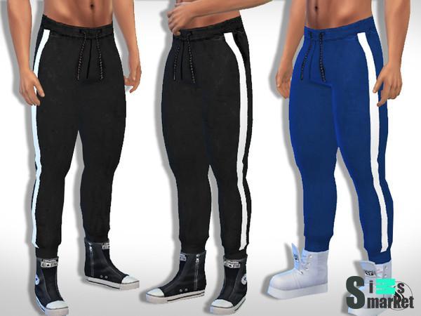 d90ac89db Мод для Sims 4 - Неимоверно хорошие тренировочные штаны для мужчин с белой  полосой.